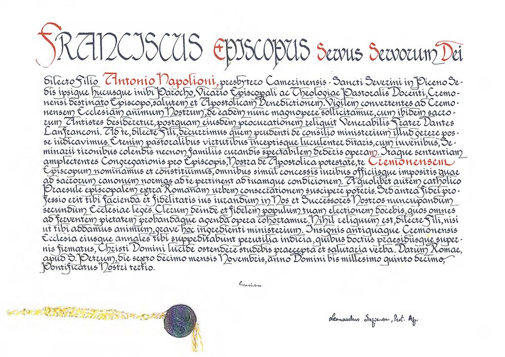 la bolla di nomina di mons antonio napolioni a vescovo di cremona